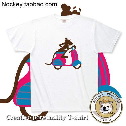 Pink Panther Motorcycle Cotton T-shirt Tee T Clothing(China (Mainland))