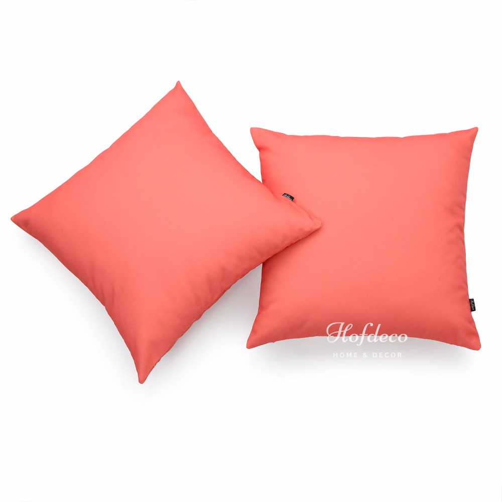 2Pcs Throw Pillow Cover Set Canvas Coral Pink Solid Sofa Chair Car Decor 45cm(China (Mainland))