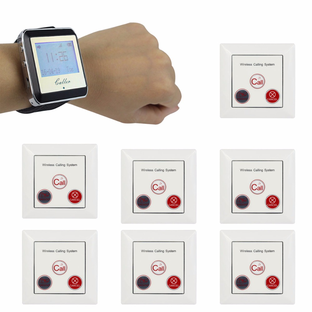 Hot Wireless Pager Calling System Restaurant Paging System with 1 Watch Receiver + 10 Call Button F4422B(China (Mainland))