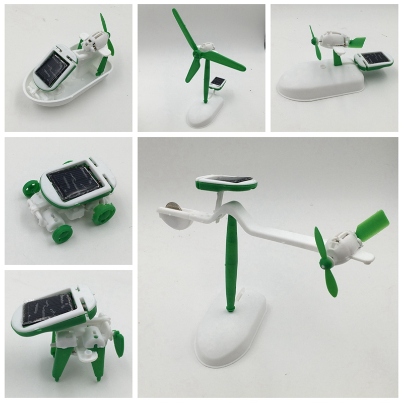 2016 New Arrival 6 in 1 Educational Solar Kit Toy Boat Fan Car Robot Mobile Power DIY assembly educational toys toy dog(China (Mainland))