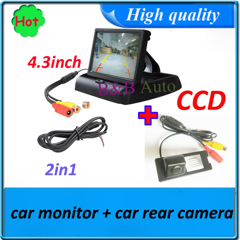 2in1 Car monitor mirror TFT LCD 4.3inch + CCD HD Car back camera for Renault Fluence Duster Car parking backup rear view camera(China (Mainland))