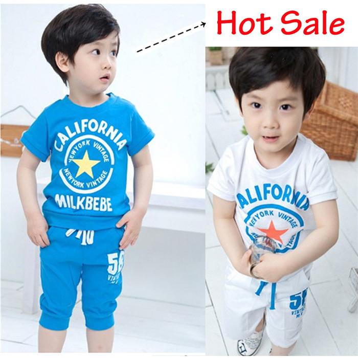 2015 New children clothing set stars boys clothing sets summer Boys baby sets t shirt short