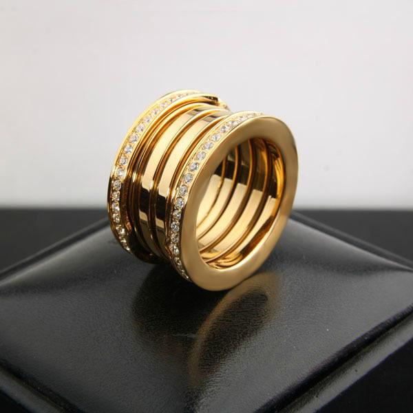 Hot Selling high-end European style jewelry titanium steel spring CZ diamond gear years Rings 100% Guaranteed Brand LOGO(China (Mainland))