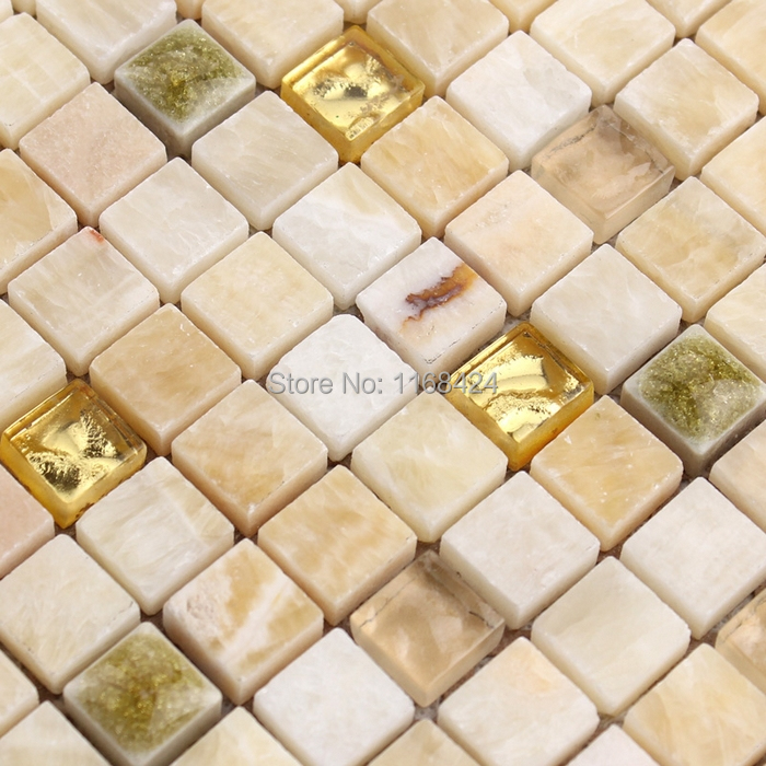 marble stone mixed crystal square mosaic tiles crystal glass kitchen backsplash tile bathroom shower(China (Mainland))