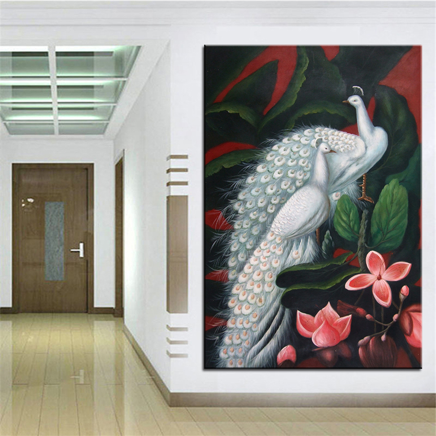 Wall Art, Wall Decor, Wall Painting Take the peacock Digital oil Painting Print, Nice Painting for wall picture no frame(China (Mainland))