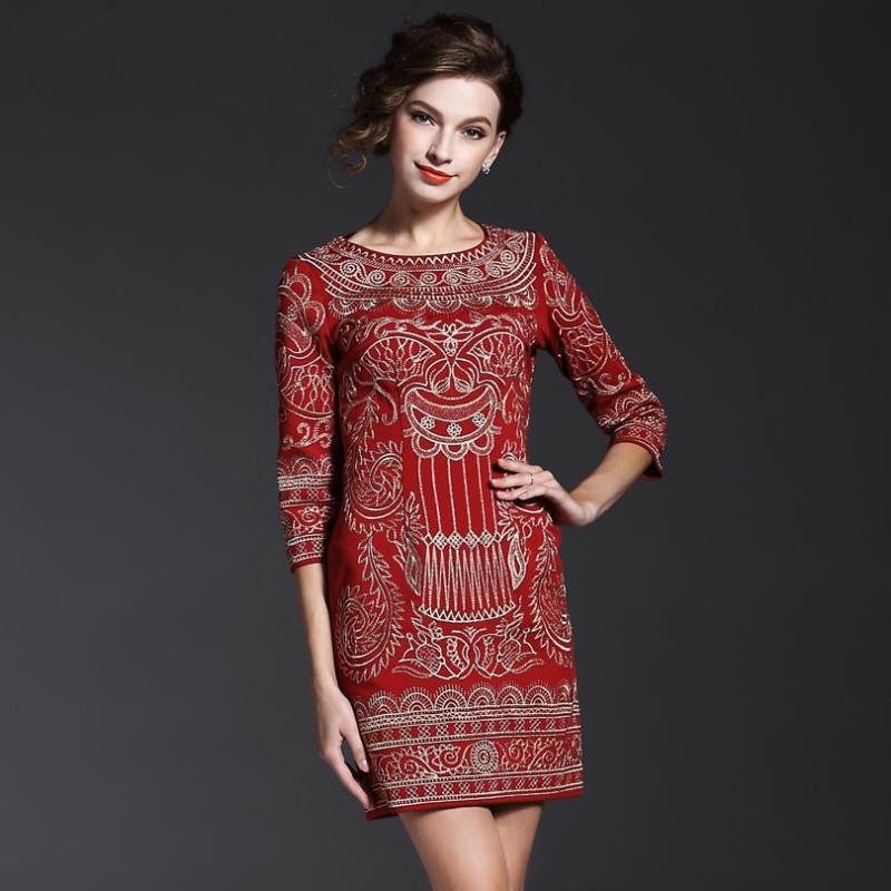 vintage embroidery dress 2016 new high quality