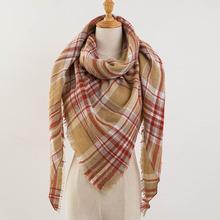 Za Winter Sarf 2016 Tartan Cashmere Scarf Women Plaid Blanket Scarf New Designer Acrylic Basic Shawls Women's Scarves and Wraps(China (Mainland))