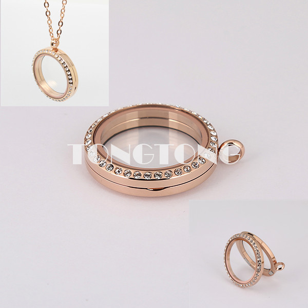 30mm magnetic rose gold floating locket with crystals 316L Stainless steel<br><br>Aliexpress