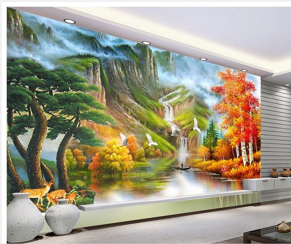 Buy 3d wallpaper tv background wallpaper - Landscape paintings for living room ...