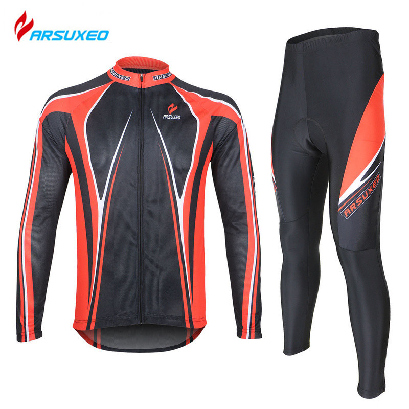 ARSUXEO Breathable Long Sleeve Road Bike Bicycle Jersey+ Tights 3D Coolmax Gel Paded Men's Cycling Jersey Clothing Sets(China (Mainland))