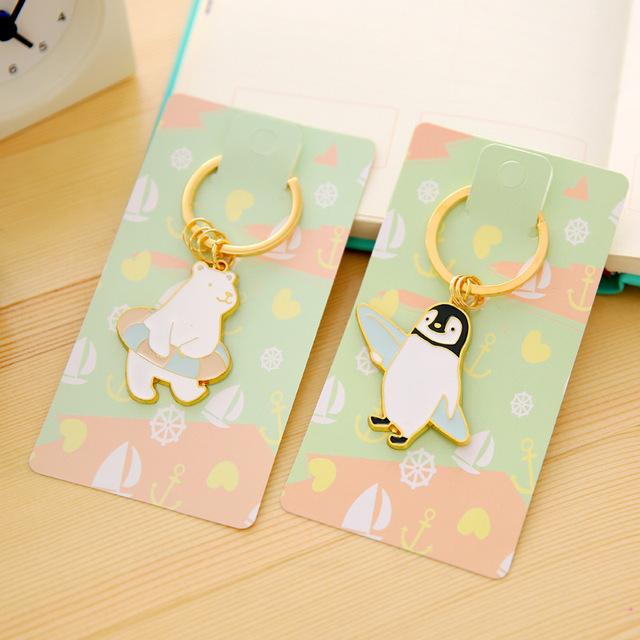 Милые Животные Белый Медведь и Пингвин Дизайн Позволяют Брелки кольца Автомобиль Брелок Мужчины Женщины Брелок для Студентов Подарок Ключ KLD047