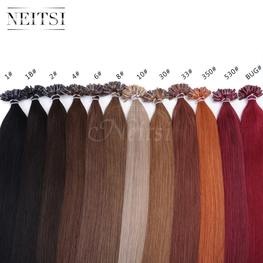 Neitsi Indian Virgin Remy Human Hair Straight Extensions Ombre Colored U Nail Tip Fusion Hair Pieces Black Brown Blonde 10Colors<br><br>Aliexpress