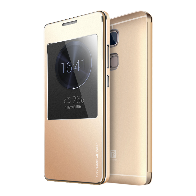 Luxury Brand Flip View Display Window Metal Cover For Huawei Ascend Mate 7 Original Aluminum Mobile Phone Case(China (Mainland))