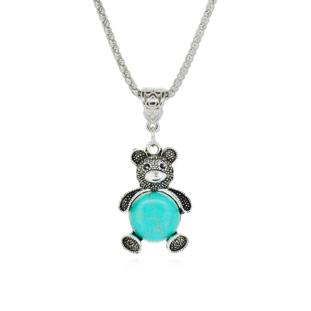 Гаджет  Exquisite Bear Silver plated Turquoise Necklaces Fashion Pendant Jewelry For Women  None Ювелирные изделия и часы