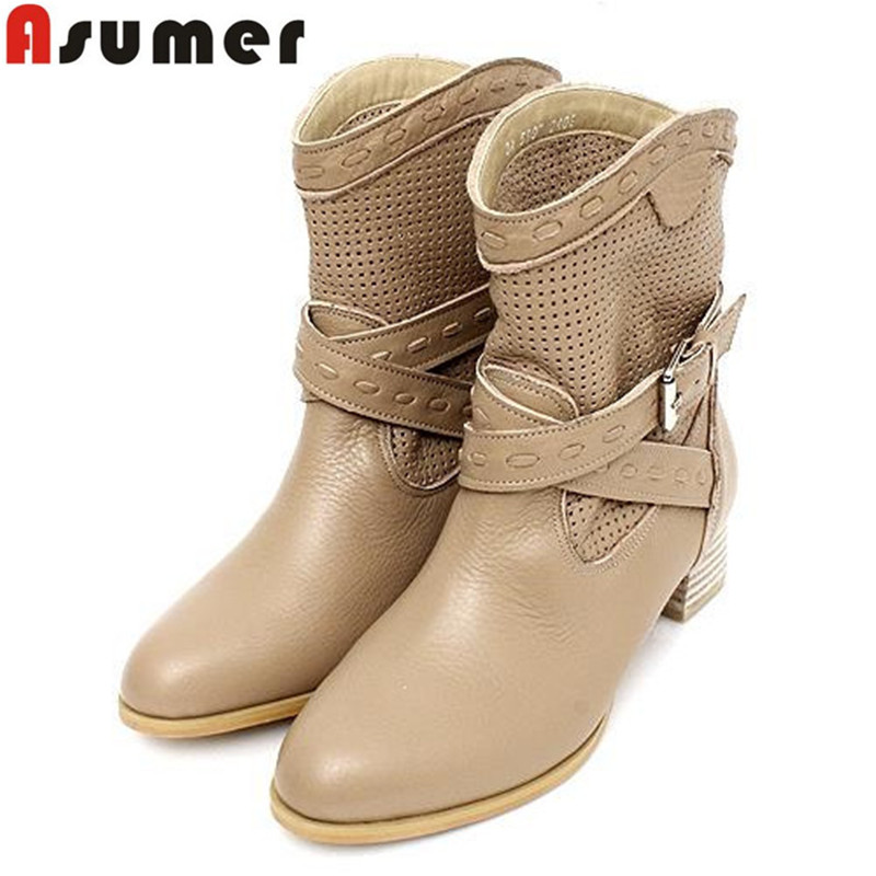 Big size new genuine leather martin boots square heels round toe hollow autumn ankle boots punk rock buckle fashion shoes woman<br><br>Aliexpress