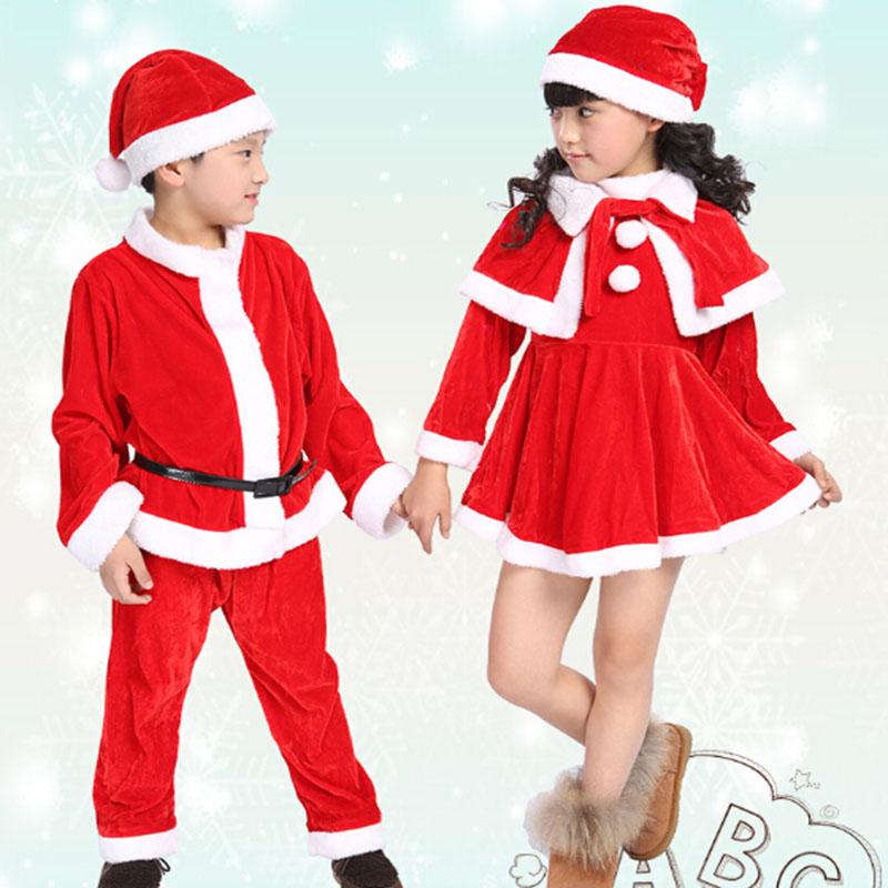 Winter children boy girl christmas costume outfit velvet