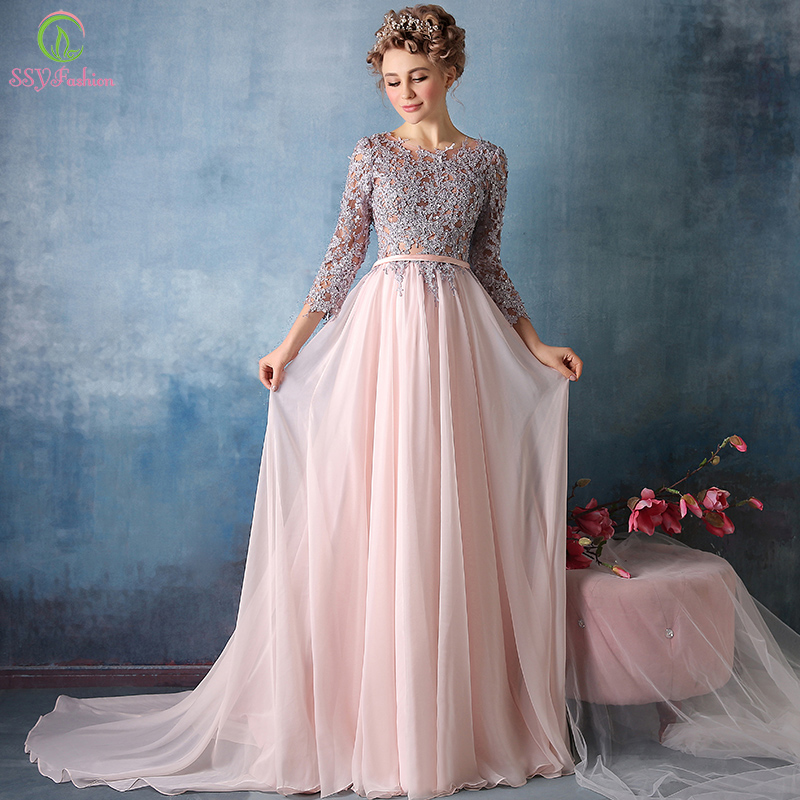 Vestidos New High grade Sweet Pink Chiffon Lace Embroidery 3/4 Sleeves ...