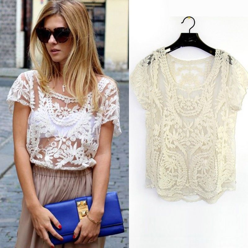 2015 New Fashion Summer Women's Lace Blouse Shirt Lace Embroidery Floral Crochet Short Sleeve Sexy Hollow-Out Retro 8001(China (Mainland))