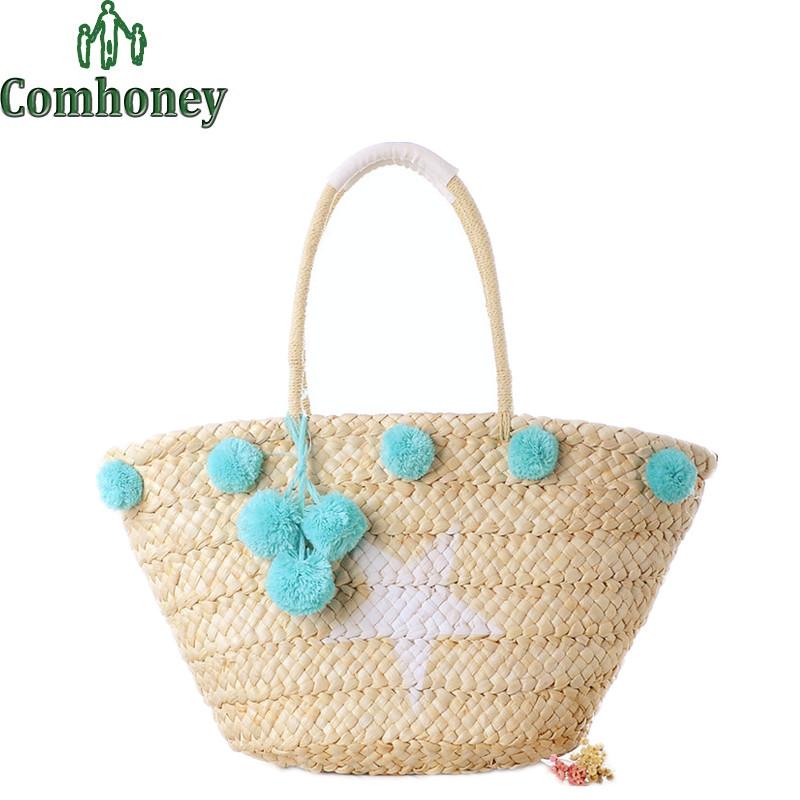Women Straw Beach Bag Summer Design Hand Knitting Women Weaving Handbags Casual Bucket Bag Ladies Girls Shoulder Straw Tote Bag(China (Mainland))