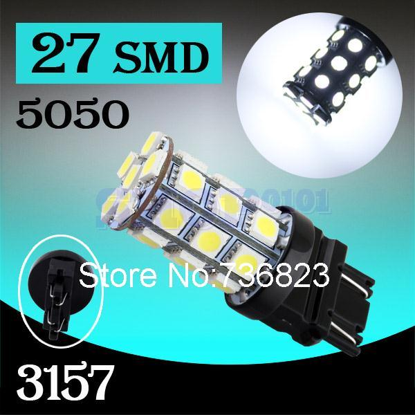 10pcs 3156 3157 Pure White 27 SMD 5050 Stop p27/7w LED Car Bulbs Lamp Auto rear brake Lights Car Light Source parking 12V(China (Mainland))