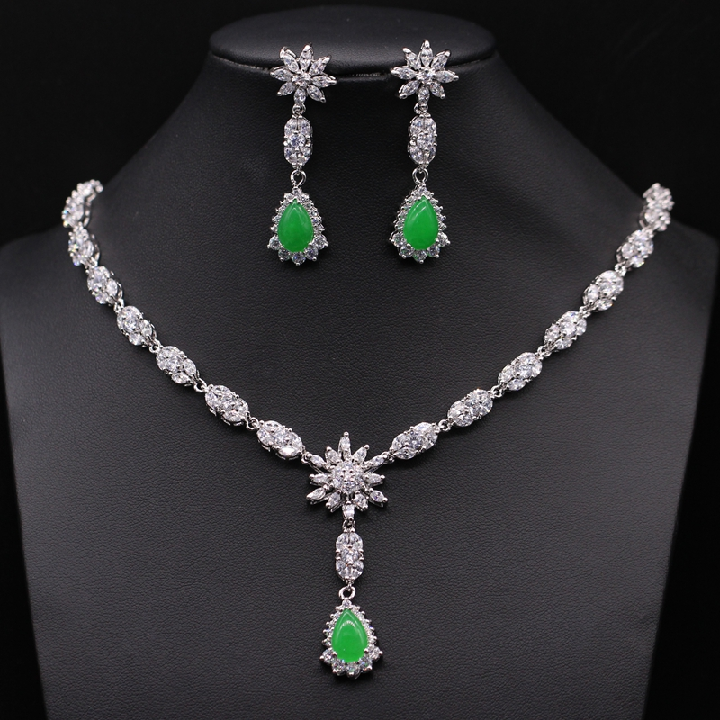 Super Luxury Wedding Accessories Waterdrop African Cubic Zirconia Malaysian Jade Bridal Necklace Earring Jewelry Set 2colors - GZJY Store store