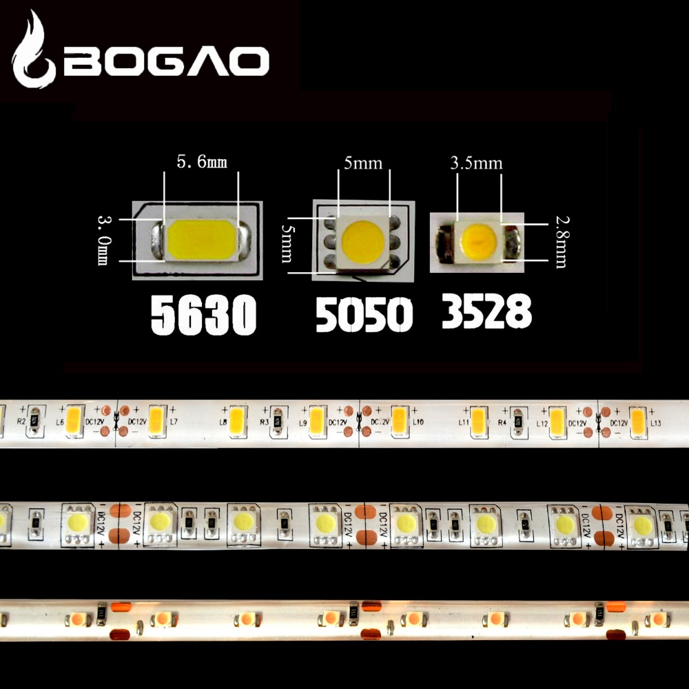 Bogao LED strip3528 5630 5050 DC12V ip65 waterproof flexible light DIY5M/1M /0.5M 60 leds/m Tape Home Decoration Lamps Car light(China (Mainland))