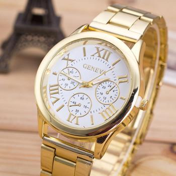 2015 Gold Montre,New Women Dress Watch Roman Numerals Quartz Stainless Steel Wrist Watch High Quality Reloj Mujer Relogio Golden