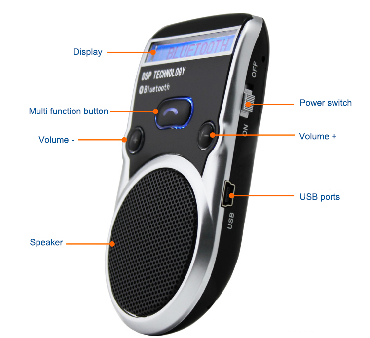 Free Shipping Solar Powered Bluetooth Car Kit LCD Display Hands Free Bluetooth Speaker with car harger