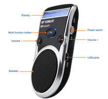 Free Shipping Solar Powered  Bluetooth Car Kit LCD Display Hands Free Bluetooth Speaker with car harger Libres Bluetooth Car Kit