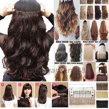 """Super Long 30 COULEURS!!! 18-28 """"pouces Bouclés/Ondulés Morceau De Cheveux 3/4 Pleine tête Clip dans les Cheveux Extensions 5 Clips sur Extensions de cheveux(China (Mainland))"""