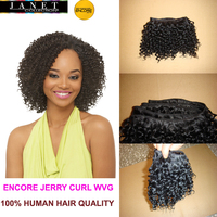 "Janet Collection Encore Jerry Curl Weaving Mix Hair Weave 100% Real Hair Quality 1#1B#2# 8""-18"" Naked Without Packing"