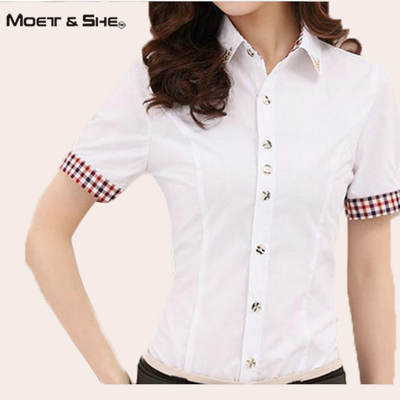 Moet She Summer Lady Blouse Single Breasted Diamonds Contrast Color Block Plaid Shirts Office OL Slim Top Women Clothes T65229R(China (Mainland))