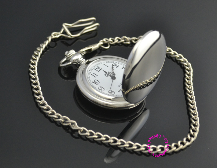new fashion silver quartz men pocket watch man arabic roman number fob watches smooth surface hour