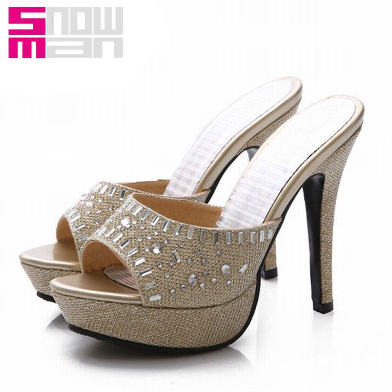 Sexy Open toe Sandals High Heels Rhinestone Summer Shoes Platform Shoes Flip Flops Gladiator Party Wedding Sandals 2016 Fashion