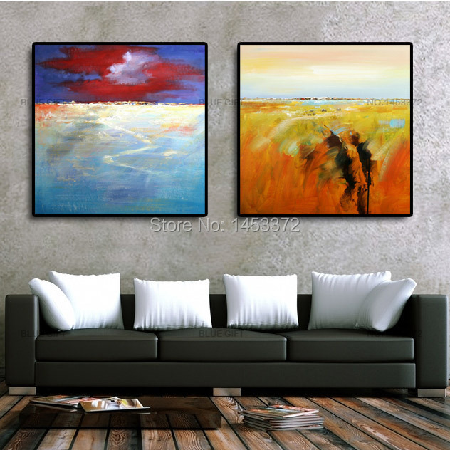 2 piece square sunrise landscape Abstract handmade painting cavas,Oil paintings Wall Decor living room - Blue Gift store