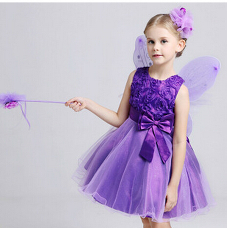 free shipping 2015 summer children's wear and American Rose Butterfly Knot Dress Girl Dress princess Dress(China (Mainland))