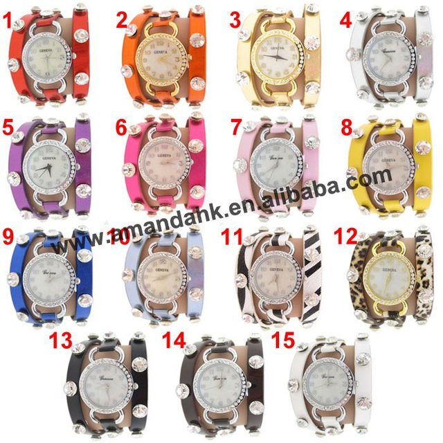 105 pcs/lot luxury brand leather crystal gold watch leather bracelets woman girl's fashion belts party dress watch gift items.