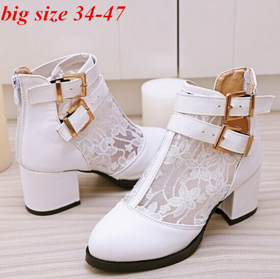 ENMAYERMartin boots Fashion Women Boots 3Color platforms high heels Lace Ankle boots shoes women big size 34-47 motorcycle boots(China (Mainland))