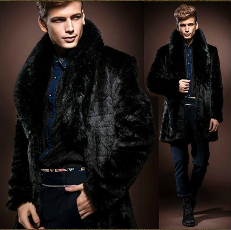 2015 Winter Black Men Faux Fur Coat Luxury Long High Imitation Rabbit Jacket Collar Vintage Clothes Russian Male - FORHISIS MEN FASHION STORE store