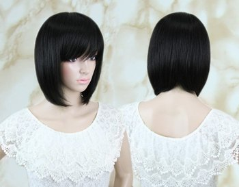 "14"" 110g Short Silky Straight Full Wig/blended Hair Fashion Wig,natural black#1b,whole-sales price"