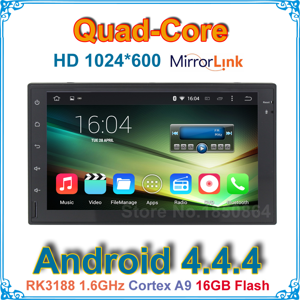 2 Din Quad Core HD 1024X600 Android 4.4.4 Universal Car DVD Player Auto PC Radio GPS with Mirrorlink 3G BT WIFI<br><br>Aliexpress