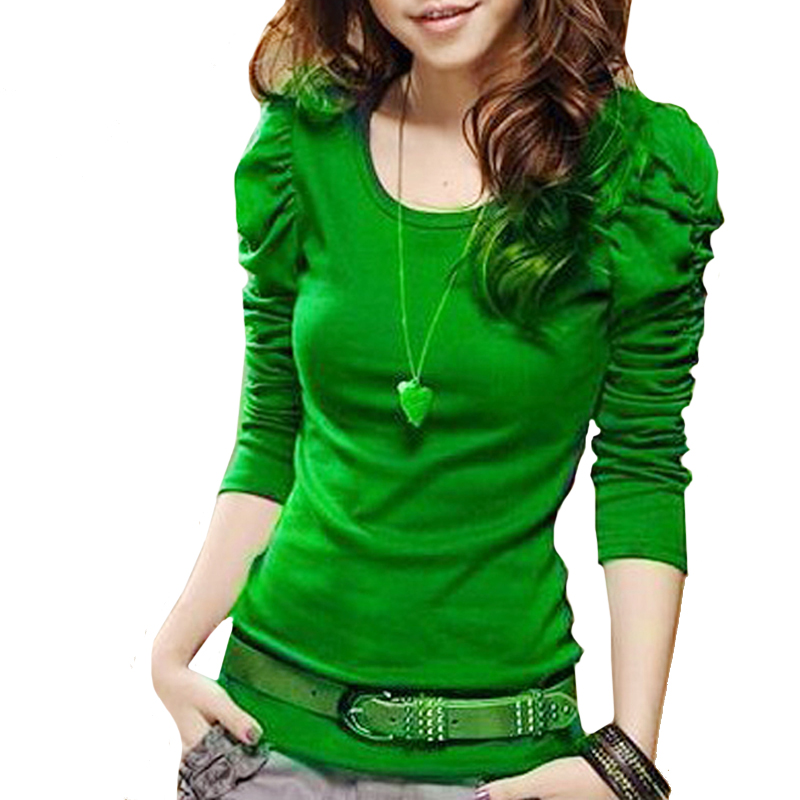 Womens Long Sleeve Tops T-Shirt Spring Slim Elastic Puff Sleeve Crew Neck Women Shirts For Women Fashion T-shirts Ladies Wear(China (Mainland))