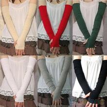 2016 HOT sell Ladies Women's Men's Long Cotton Crochet Fingerless Braided Arm Warmer Gloves HT328(China (Mainland))