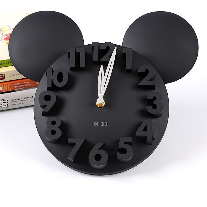 New 3D Cute children bedroom adornment digital Cartoon clock wall decor White black red(China (Mainland))
