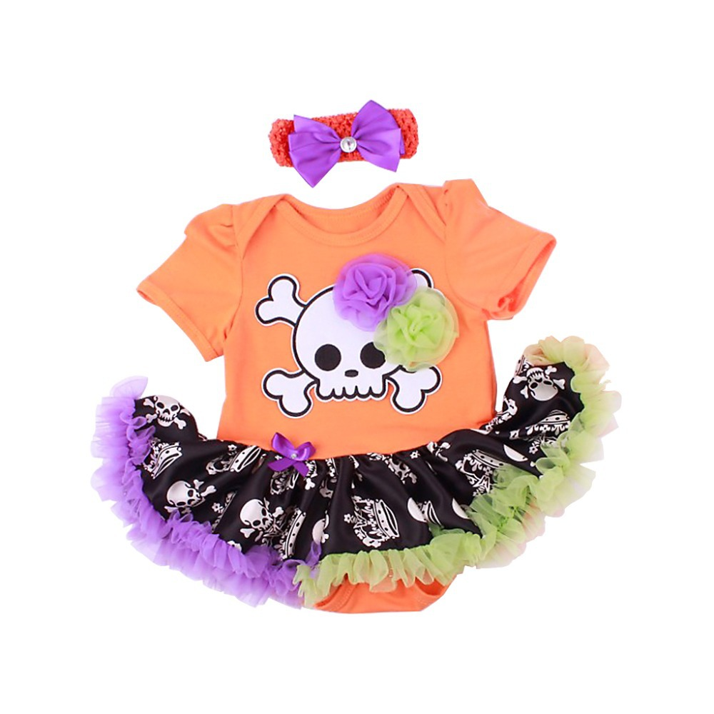Fashion Infant Halloween Baby Girl Pumpkin Tulle Tutu Romper Dress Orange Pink White Rompers Dress Children's Cotton Clothing(China (Mainland))