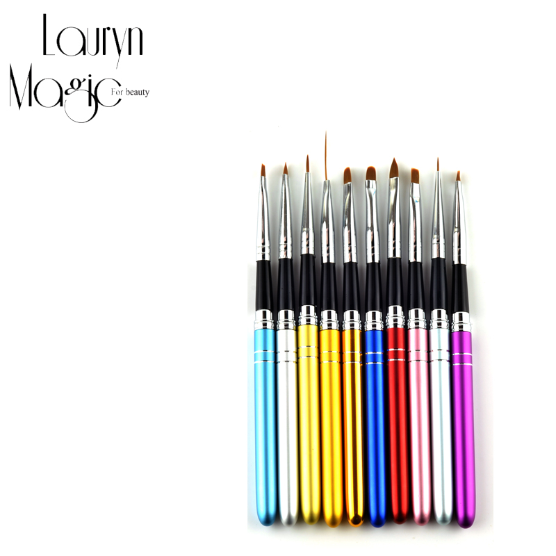 10Pcs 10 Colors Different Sizes Copper Handle Nail Art Brush Set Design Polish Nylon UV Gel Painting Nail Brushes(China (Mainland))