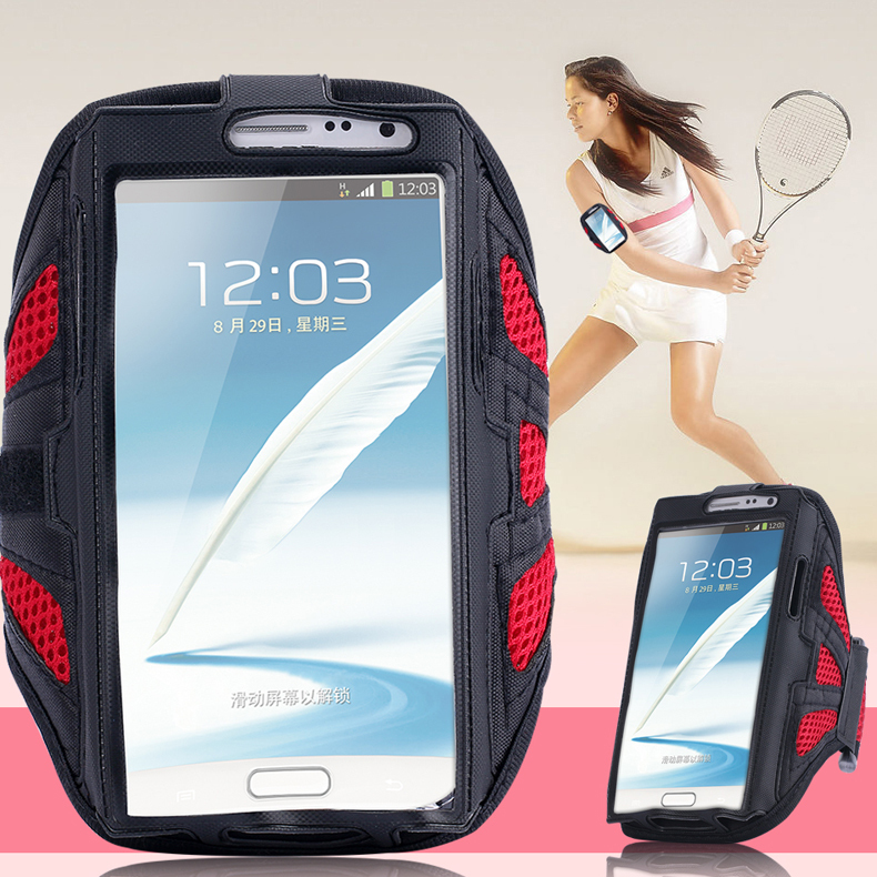 Note 2/3/4 Capa Sports Running Arm Band Grid Case For Samsung Galaxy Note 2/ Note 3/ Note 4 Workout Phone Arm Band Holder Pounch(China (Mainland))