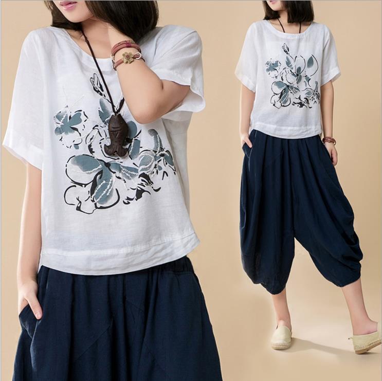 2016 Original Free Shipping vintage 70s ink print embroidery cotton line t shirt tops women clothing tshirt t-shirt 0052(China (Mainland))