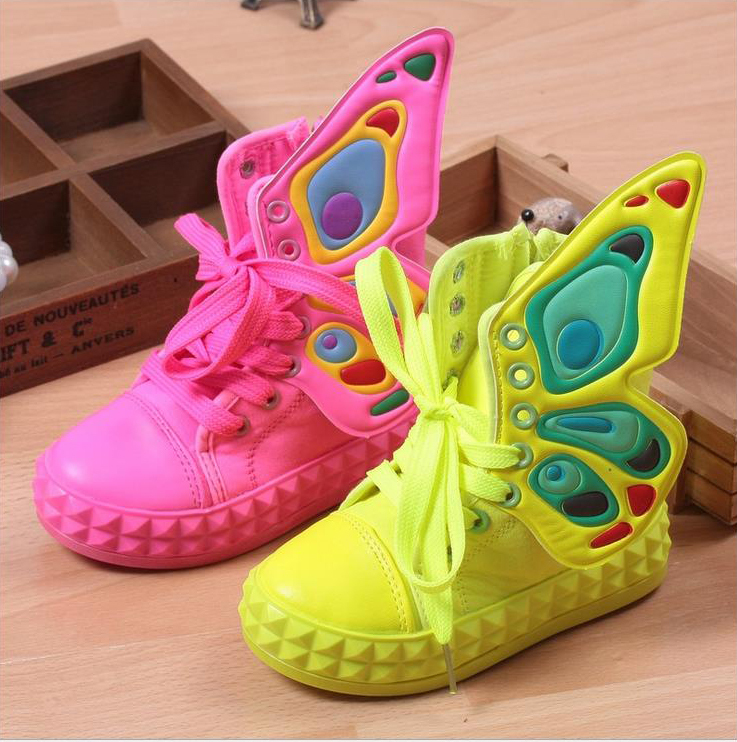 Hot Sale 2015 children fashion sneakers boys girls wings canvas shoes high quality kids sport shoes high-top side-zipper 3-16T(China (Mainland))
