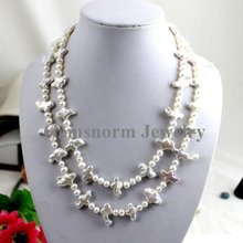 """Hot Sale 12-16mm Cross Freshwater Pearls Necklace 17""""-19"""" 2 Rows Pearls Jewelry Free Shipping(China (Mainland))"""